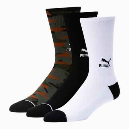 Men's Crew Socks [3 Pack], GREEN / BLACK, small